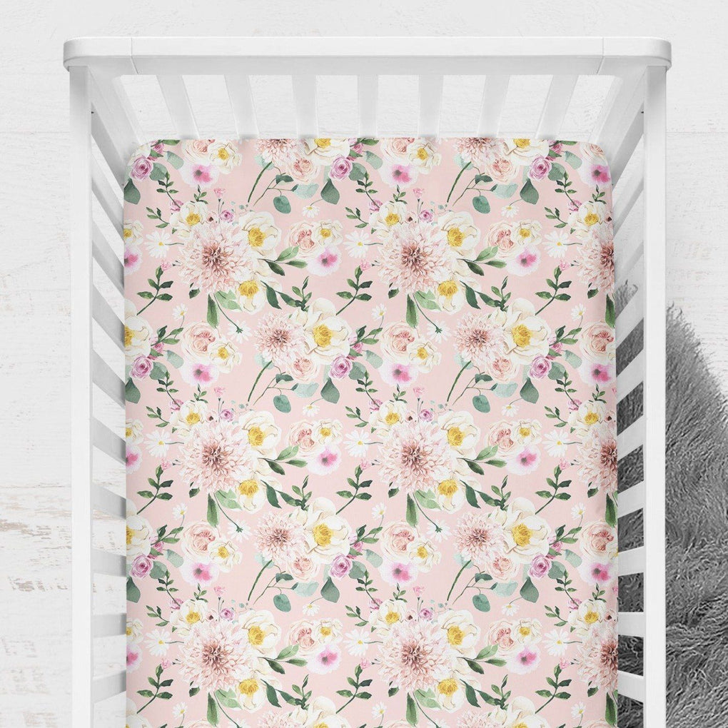 Farm Floral Crib Sheet or Changing Pad Cover Crib Sheet Modified Tot