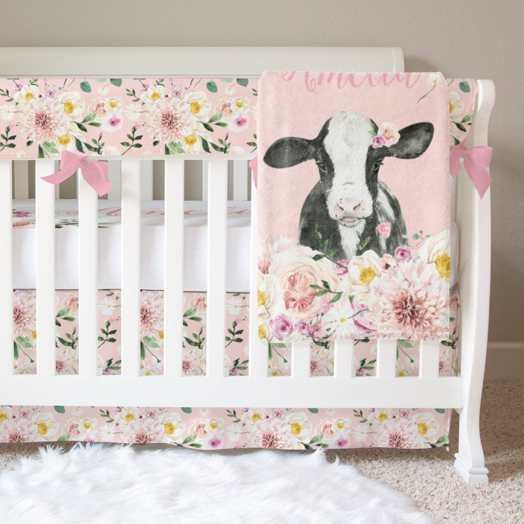 Farm Floral Personalized Crib Sheet or Changing Pad Cover Crib Sheet Modified Tot
