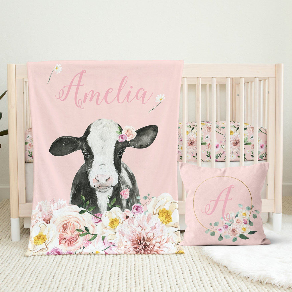 Farm Floral Personalized Throw Pillow Throw Pillow Modified Tot