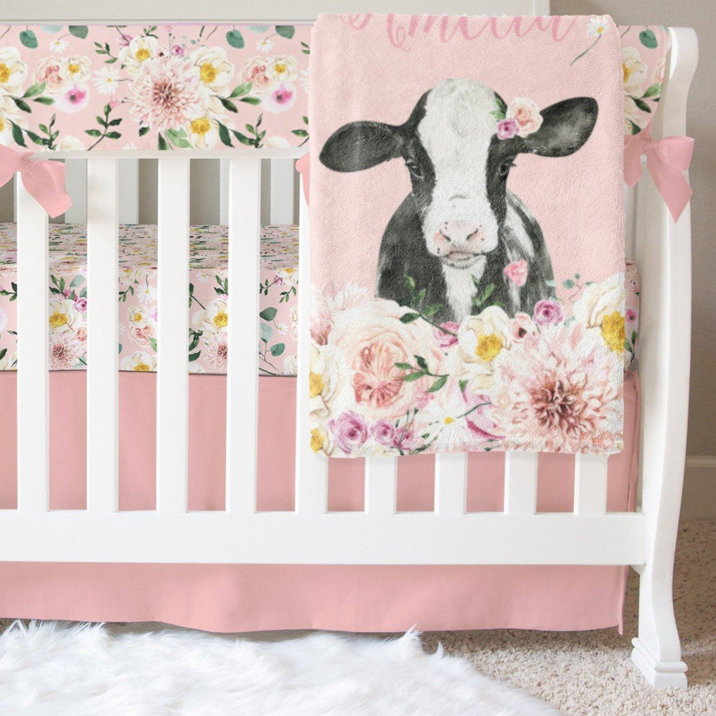 Farm Floral Pink Crib Bedding Crib Bedding Modified Tot