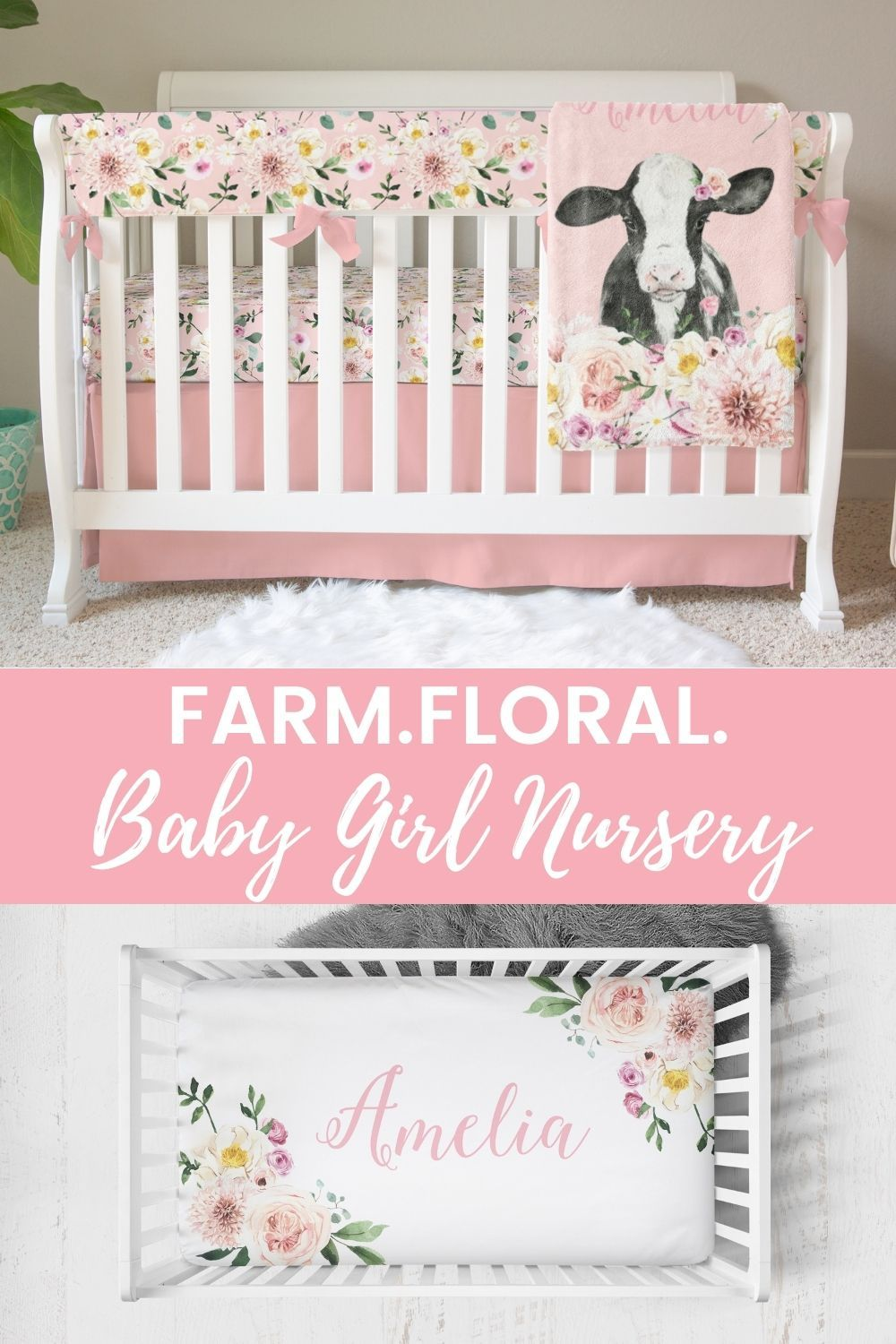 Farm Floral Solid Pink Crib Skirt Crib Skirt Modified Tot