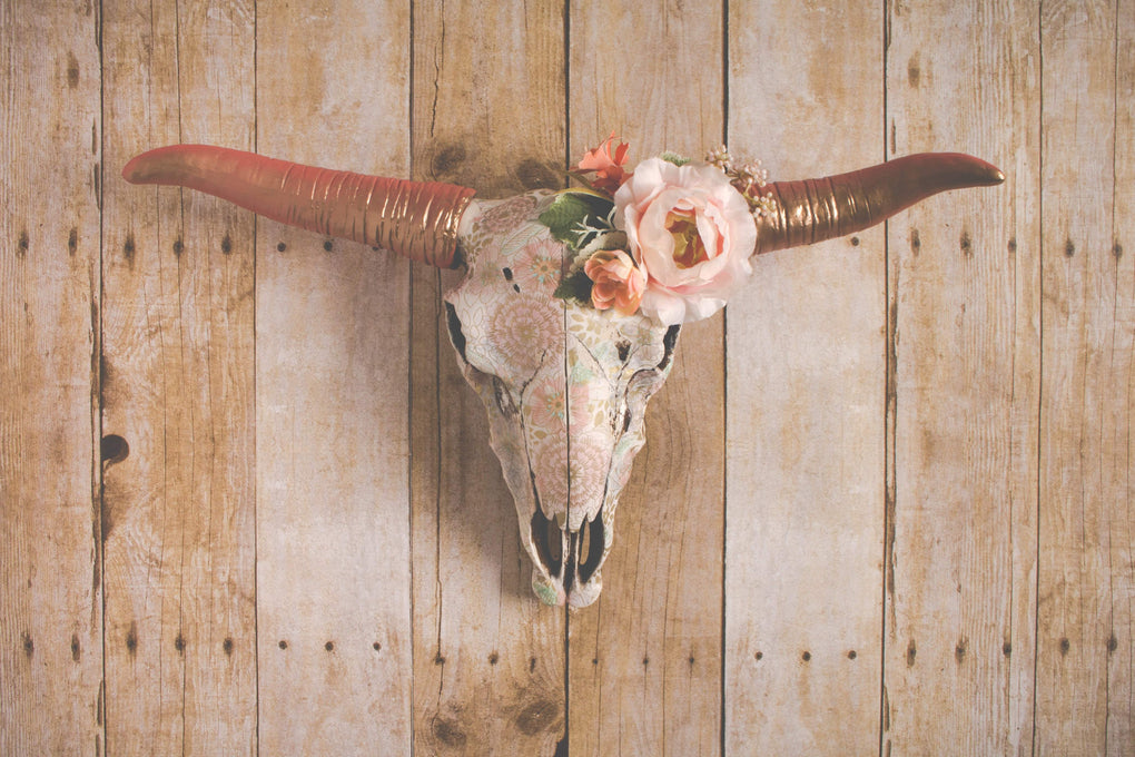 Faux Boho Floral Cow Skull wall art Modified Tot