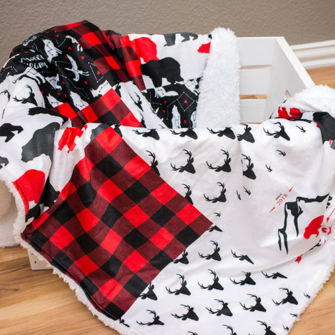 Faux Patchwork Lil Lumberjack Double Minky Blanket Minky Blanket Modified Tot