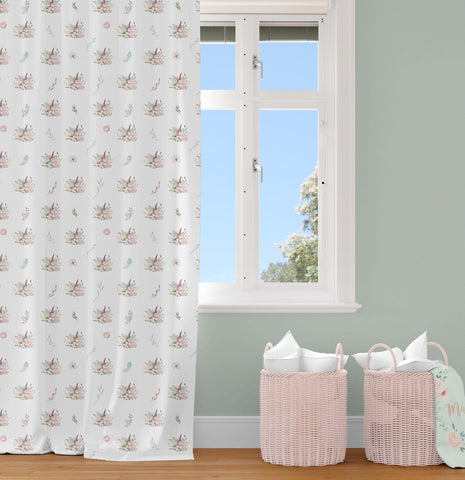 Fawn Forest Floral Curtain Panel Curtain Panels Modified Tot