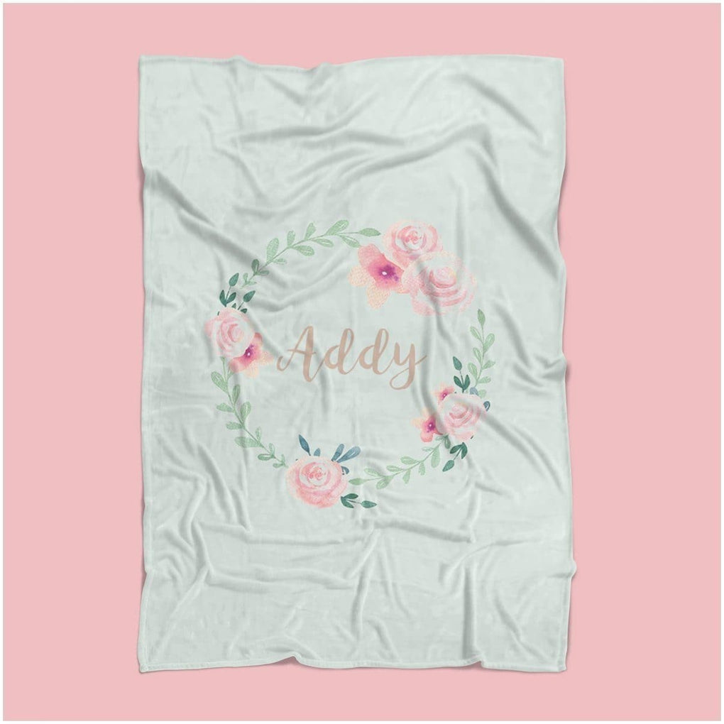Fawn Forest Personalized Floral Minky Blanket Crib Bedding Modified Tot