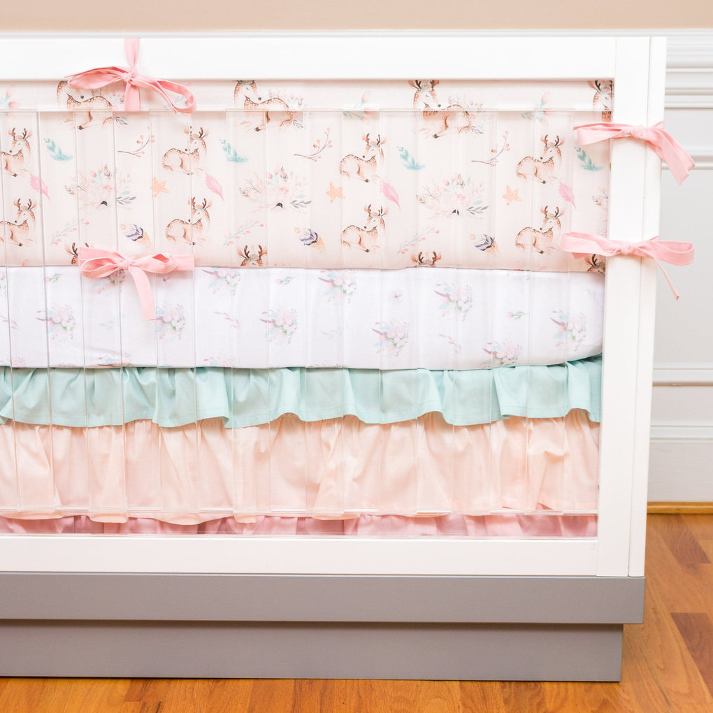 Fawn Forest Ruffled Crib Skirt Crib Bedding Modified Tot