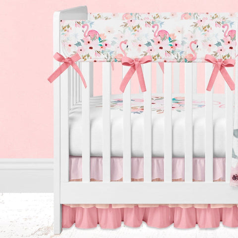 Flamingo Floral Bumperless Crib Bedding (3 Pcs: Rail Guards, Sheet, Skirt) Crib Bedding Modified Tot