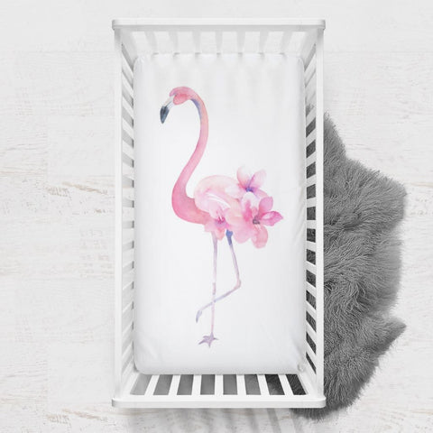 Flamingo Floral Crib Sheet Crib Bedding Modified Tot