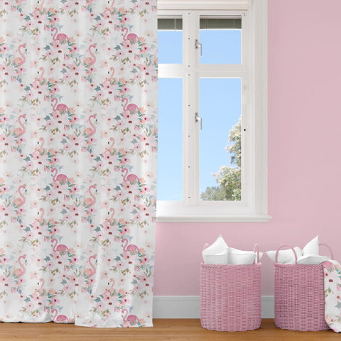 Flamingo Floral Curtain Panel Curtain Panels Modified Tot