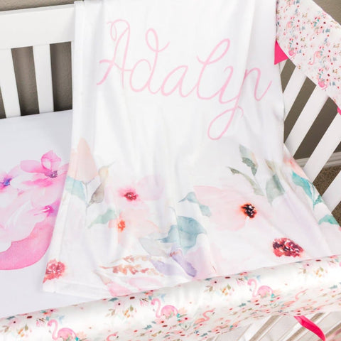 Flamingo Floral Minky Blanket Crib Bedding Modified Tot