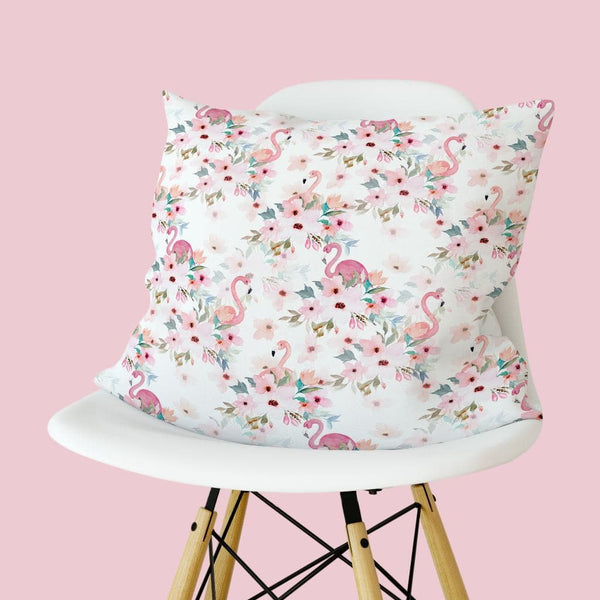 Flamingo Floral Throw Pillow Throw Pillow Modified Tot