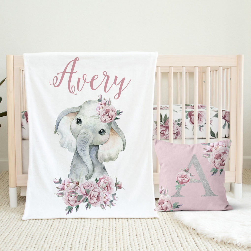 Floral Elephant Nursery Set Crib Bedding Modified Tot