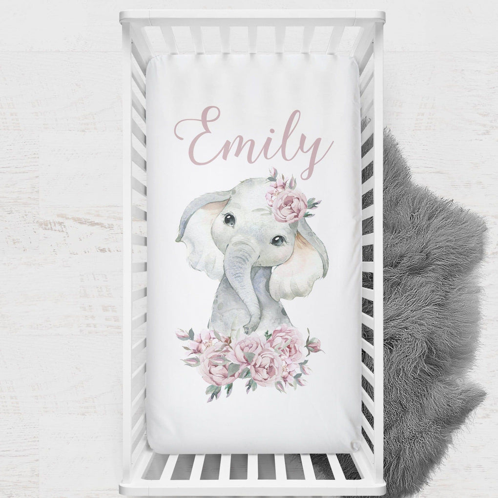 Floral Elephant Personalized Crib Sheet Crib Sheet Modified Tot