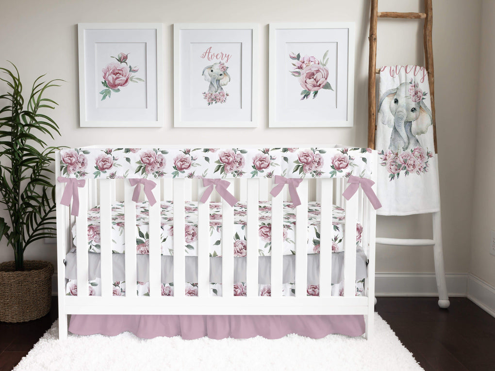 Floral Elephant Ruffled Crib Bedding Crib Bedding Modified Tot