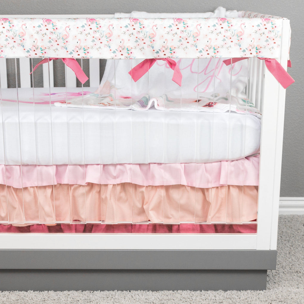 Floral Flamingo Ruffled Crib Skirt Crib Skirt Modified Tot
