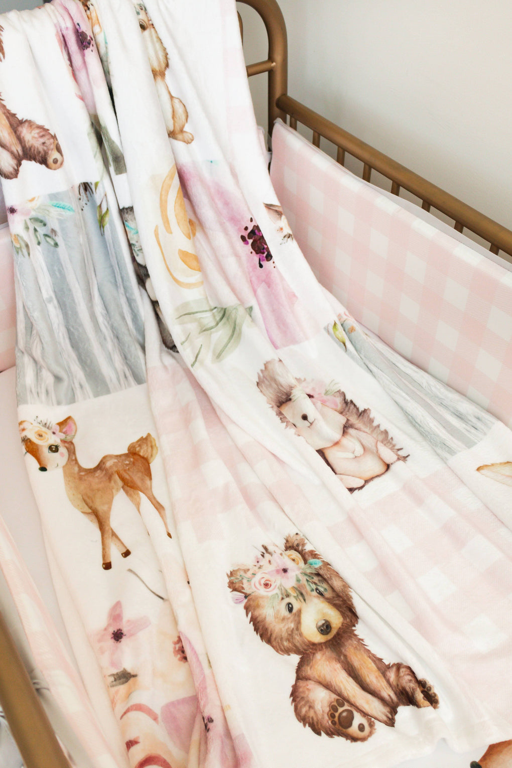 Floral Woodlands Bumperless Crib Bedding Crib Bedding Modified Tot