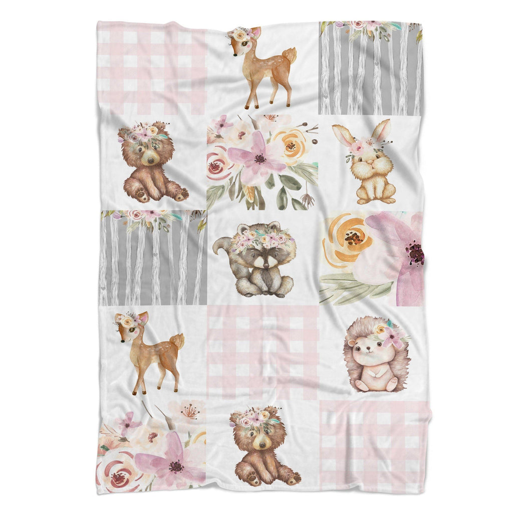 Floral Woodlands Faux Patchwork Cuddle Blanket Minky Blanket Modified Tot