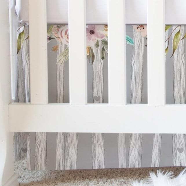 Floral Woodlands Flat Crib Skirt Crib Skirt Modified Tot