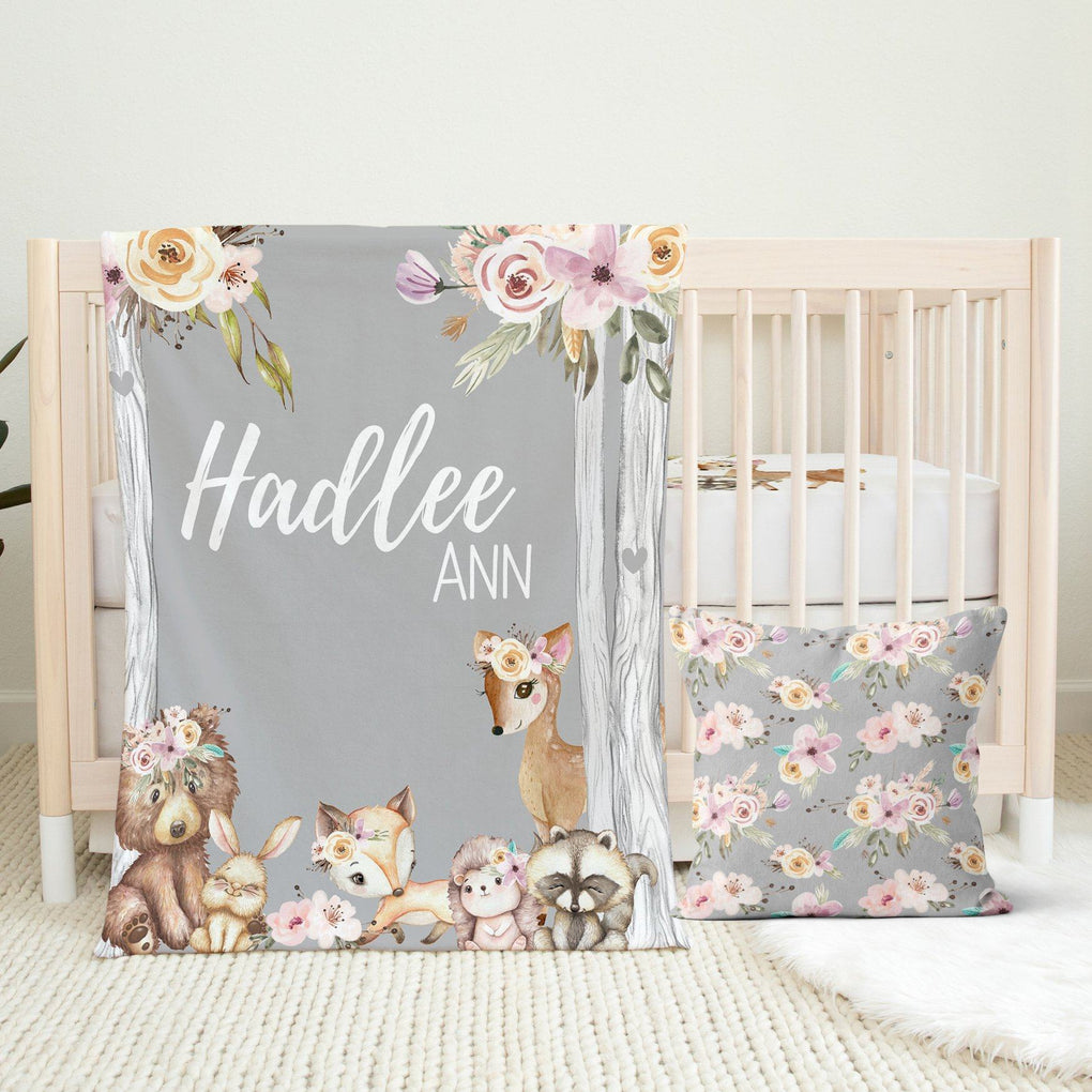 Floral Woodlands Nursery Set Crib Bedding Modified Tot