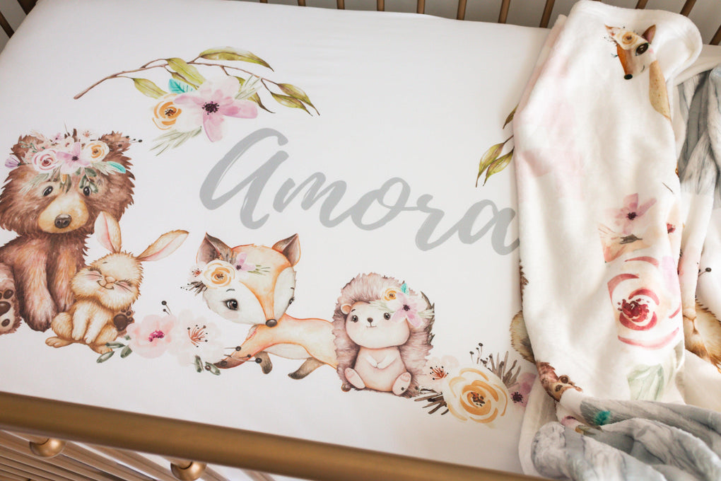 Floral Woodlands Personalized Crib Sheet Crib Sheet Modified Tot