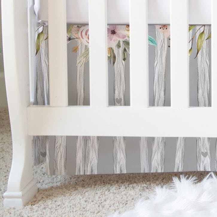 Floral Woodlands Rail Guard Crib Bedding Crib Bedding Modified Tot