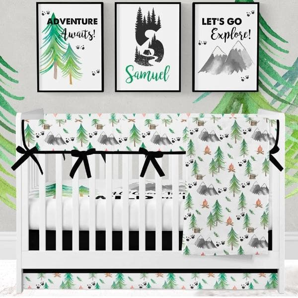 Forest Adventure Crib Skirt with Trim Crib Bedding Modified Tot