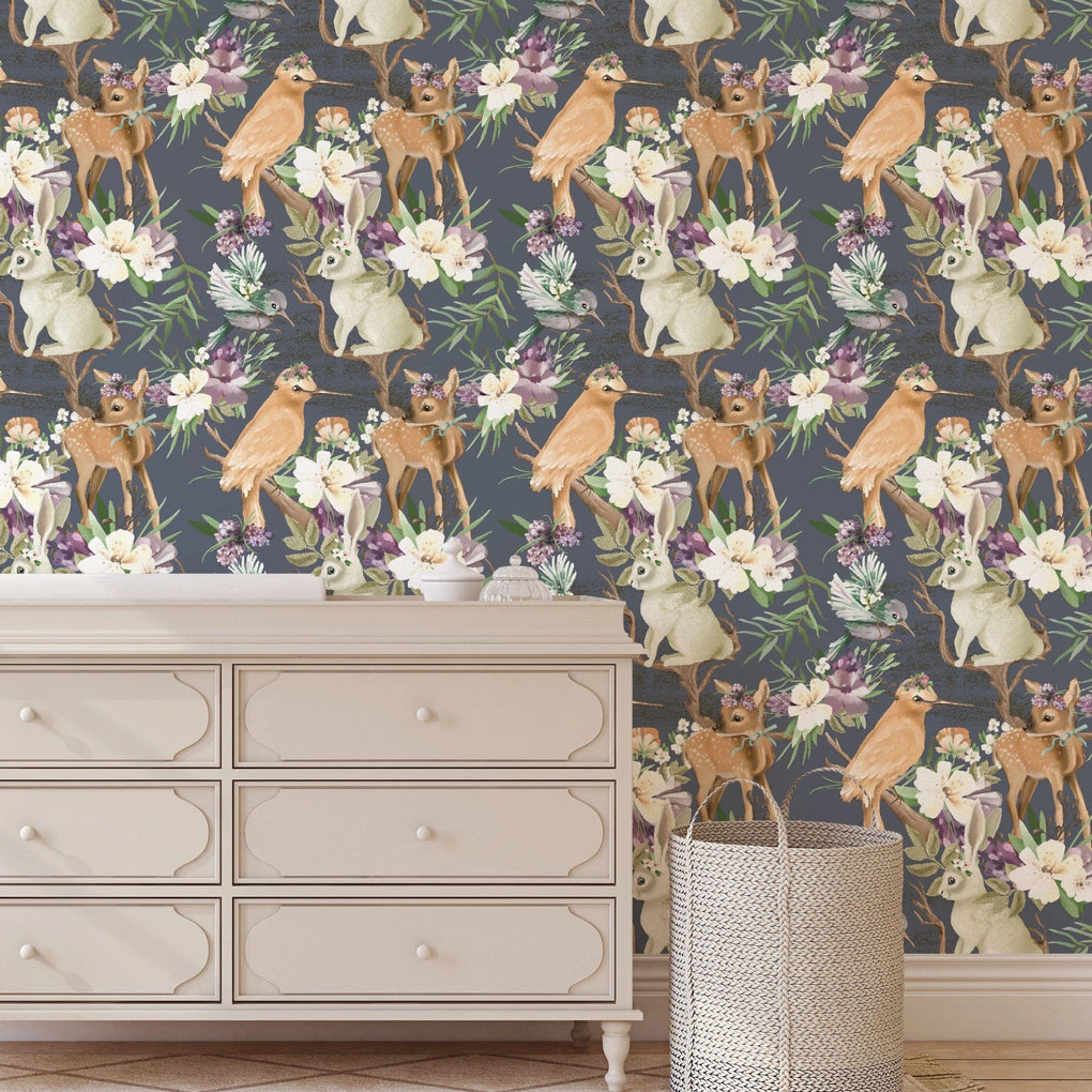 Forest Animals Floral Removable Wallpaper Wallpaper Modified Tot