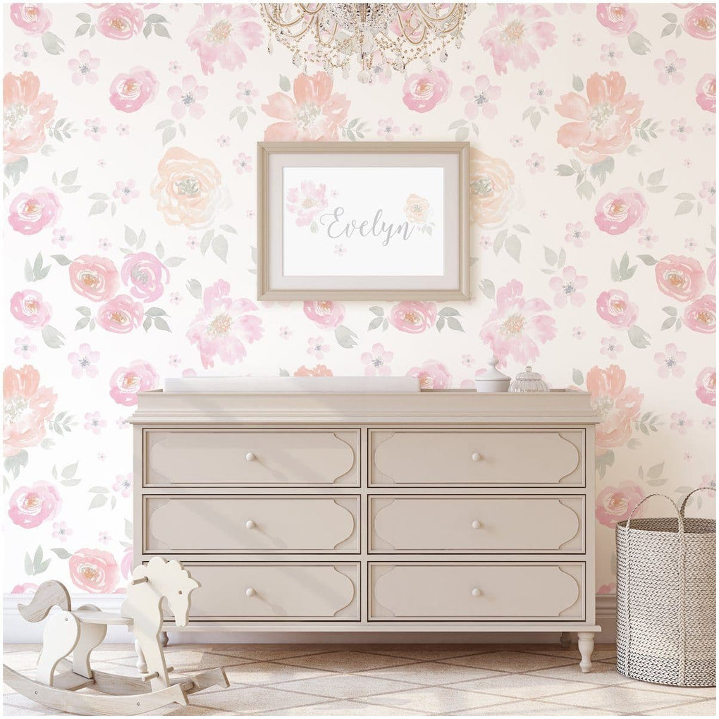 French Floral Removable Wallpaper Wallpaper Modified Tot