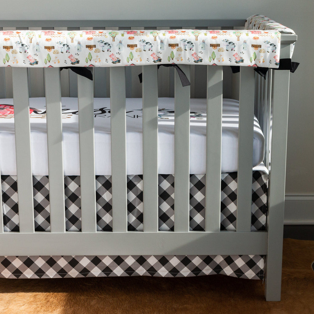 Gingham Farm Plaid Crib Skirt Crib Skirt Modified Tot