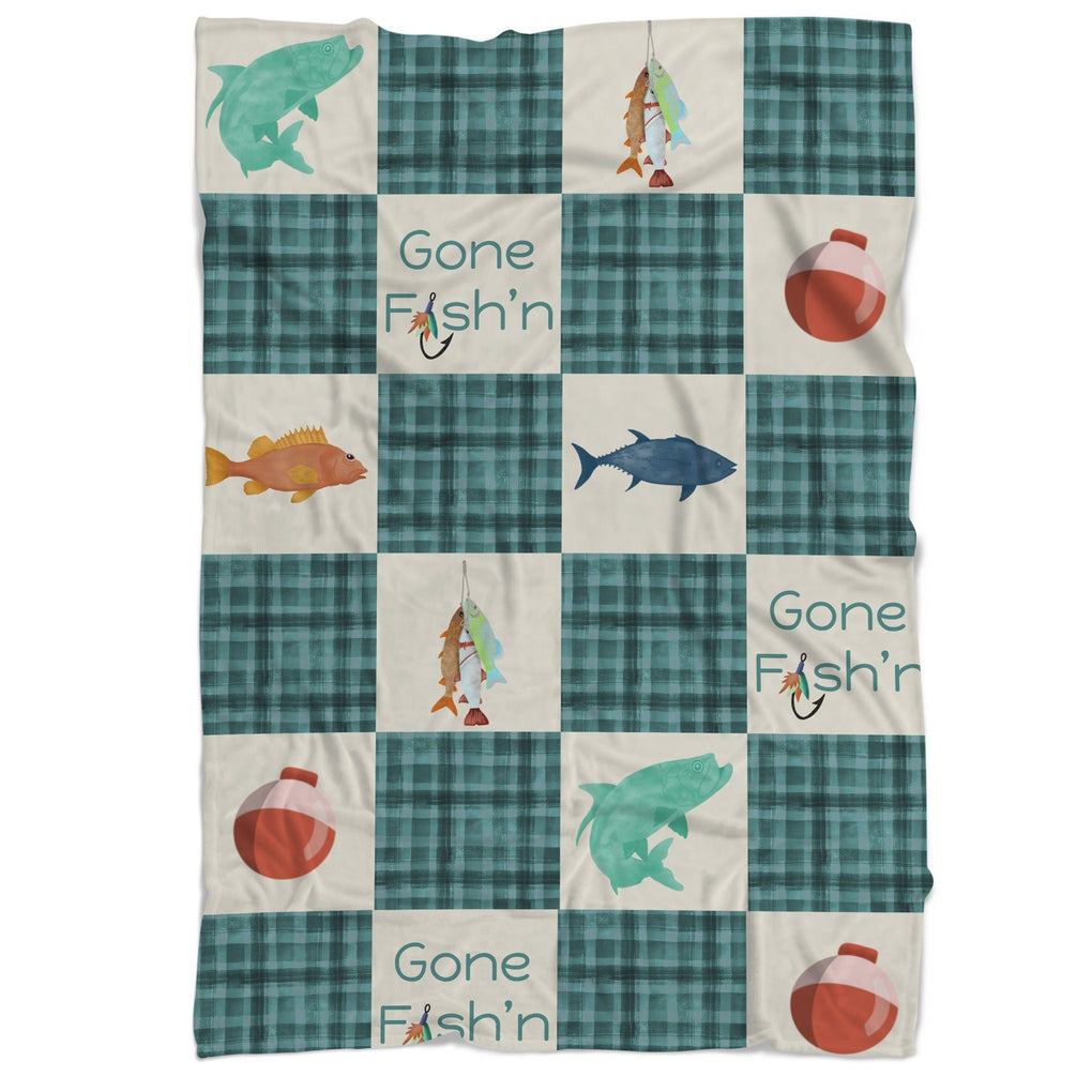 Gone Fishing Faux Patchwork Cuddle Blanket Minky Blanket Modified Tot