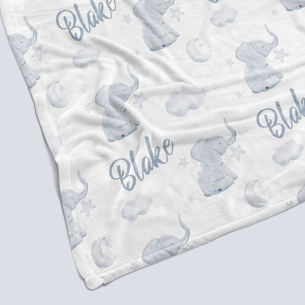 Goodnight Elephant Personalized Minky Blanket Minky Blanket Modified Tot