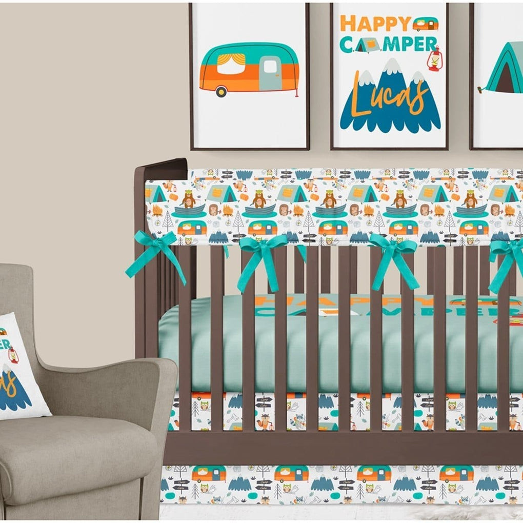 Happy Camper Crib Bedding (3 Pcs: Rail Guards, Sheet, Skirt) Crib Bedding Modified Tot