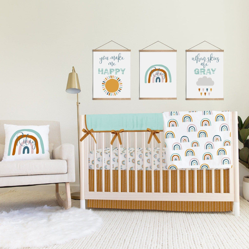 Herringbone Boho Rainbow Crib Skirt Crib Skirt Modified Tot