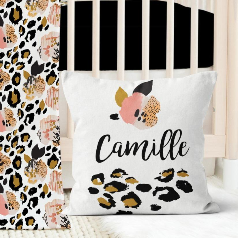 Leopard Love Personalized Pillow Throw Pillow Modified Tot