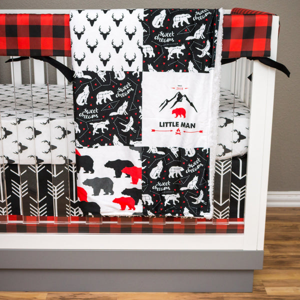 Lil Lumberjack Bumperless Crib Bedding (4 Pcs: Rail Guards, Sheet, Skirt, Minky Blanket) Crib Bedding Modified Tot