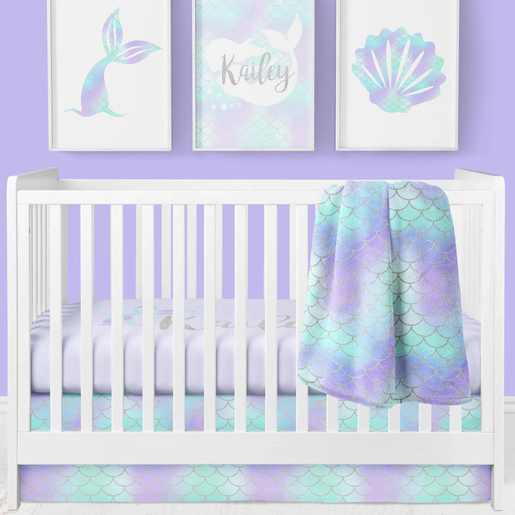 Mermaid Love Scales Crib Skirt Crib Skirt Modified Tot