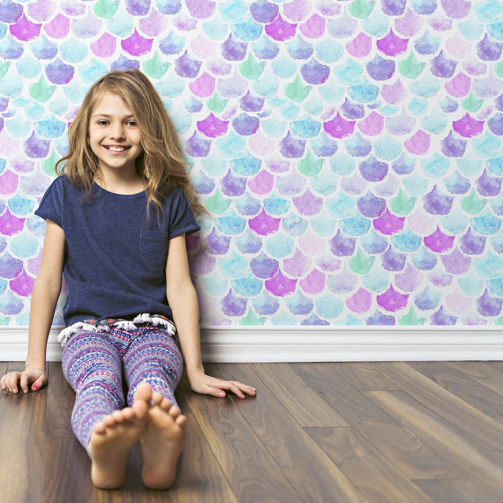 Mermaid Scales Removable Wallpaper Wallpaper Modified Tot