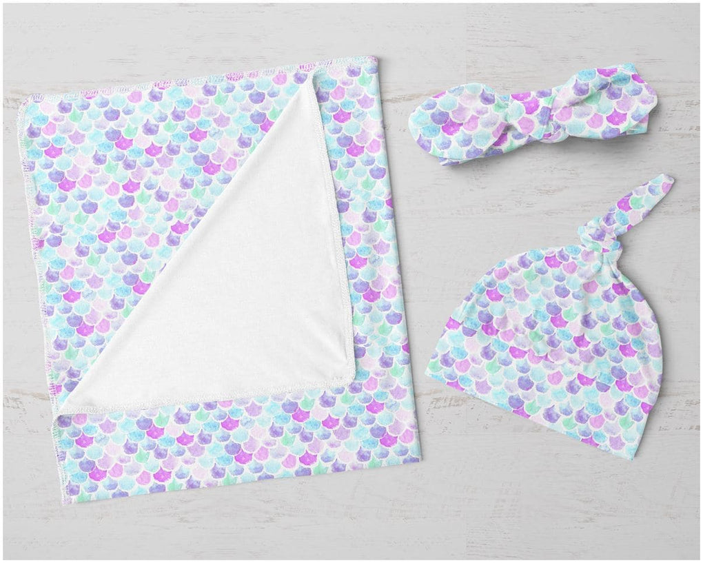 Mermaid Scales Swaddle Blanket Set Swaddle Blanket Modified Tot