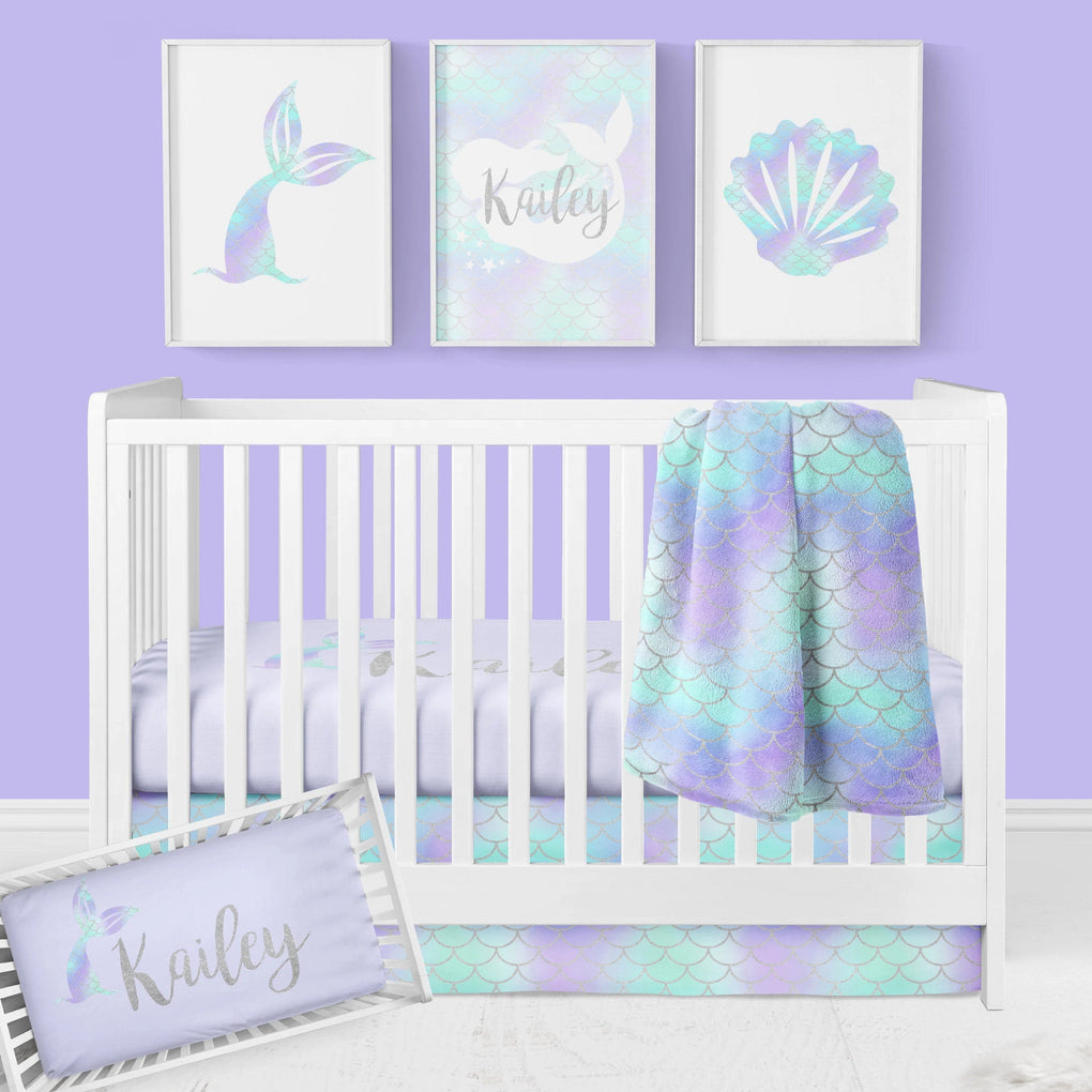 Mermaid Tail Personalized Crib Sheet Crib Sheet Modified Tot