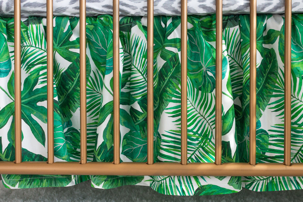 Modern Jungle Gathered Skirt Crib Bedding Crib Bedding Modified Tot