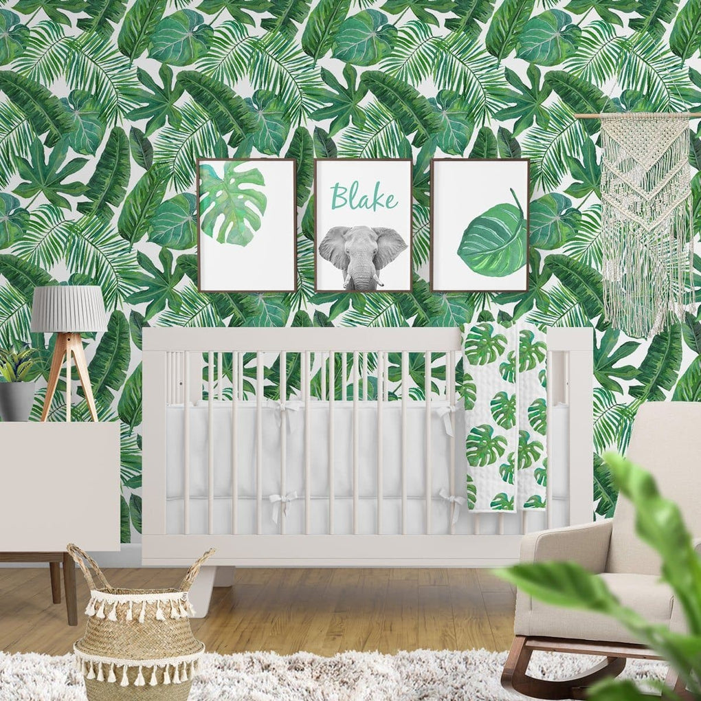Modern Jungle Palm Crib Sheet Crib Sheet Modified Tot