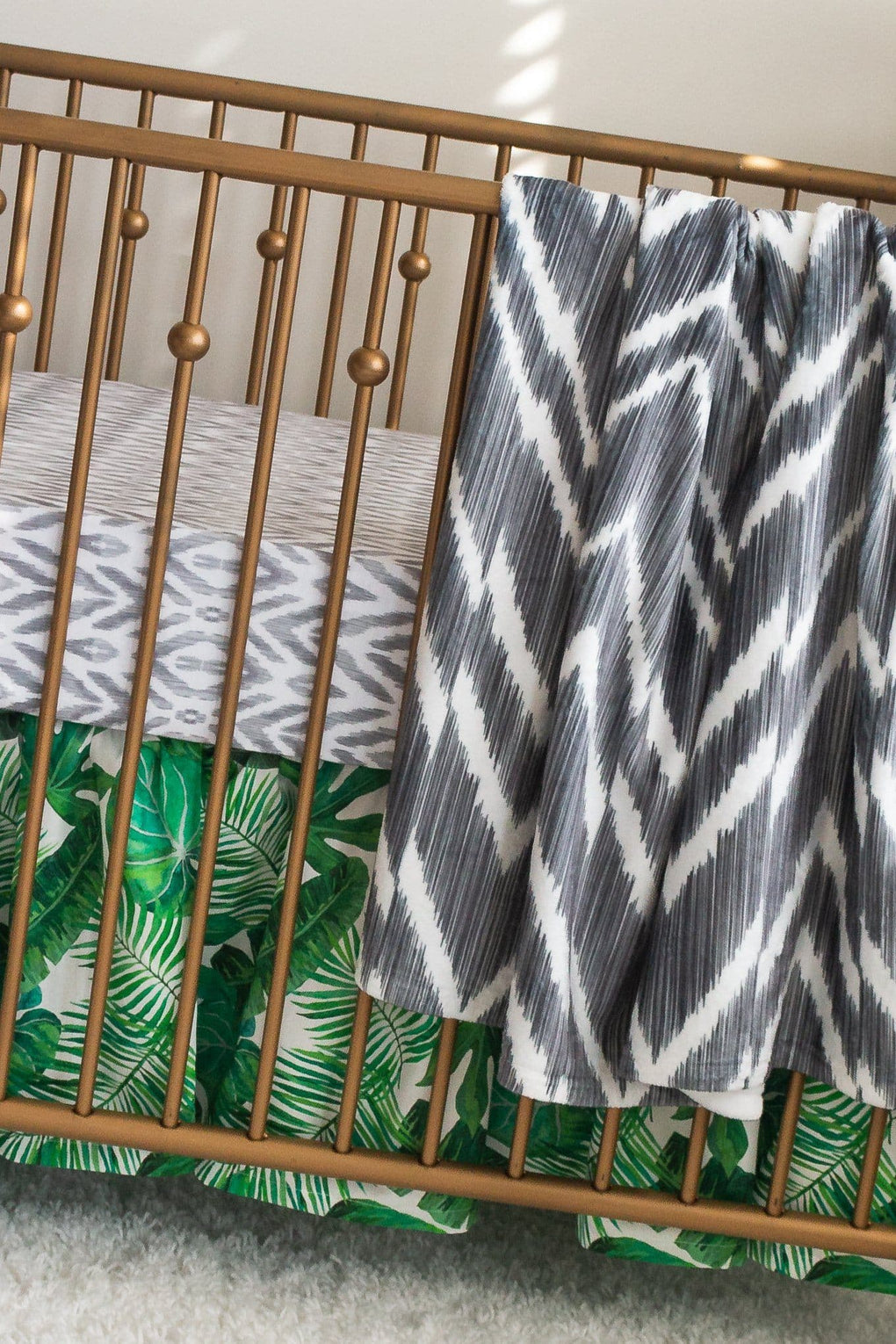 Modern Jungle Palm Gathered Crib Skirt Crib Skirt Modified Tot