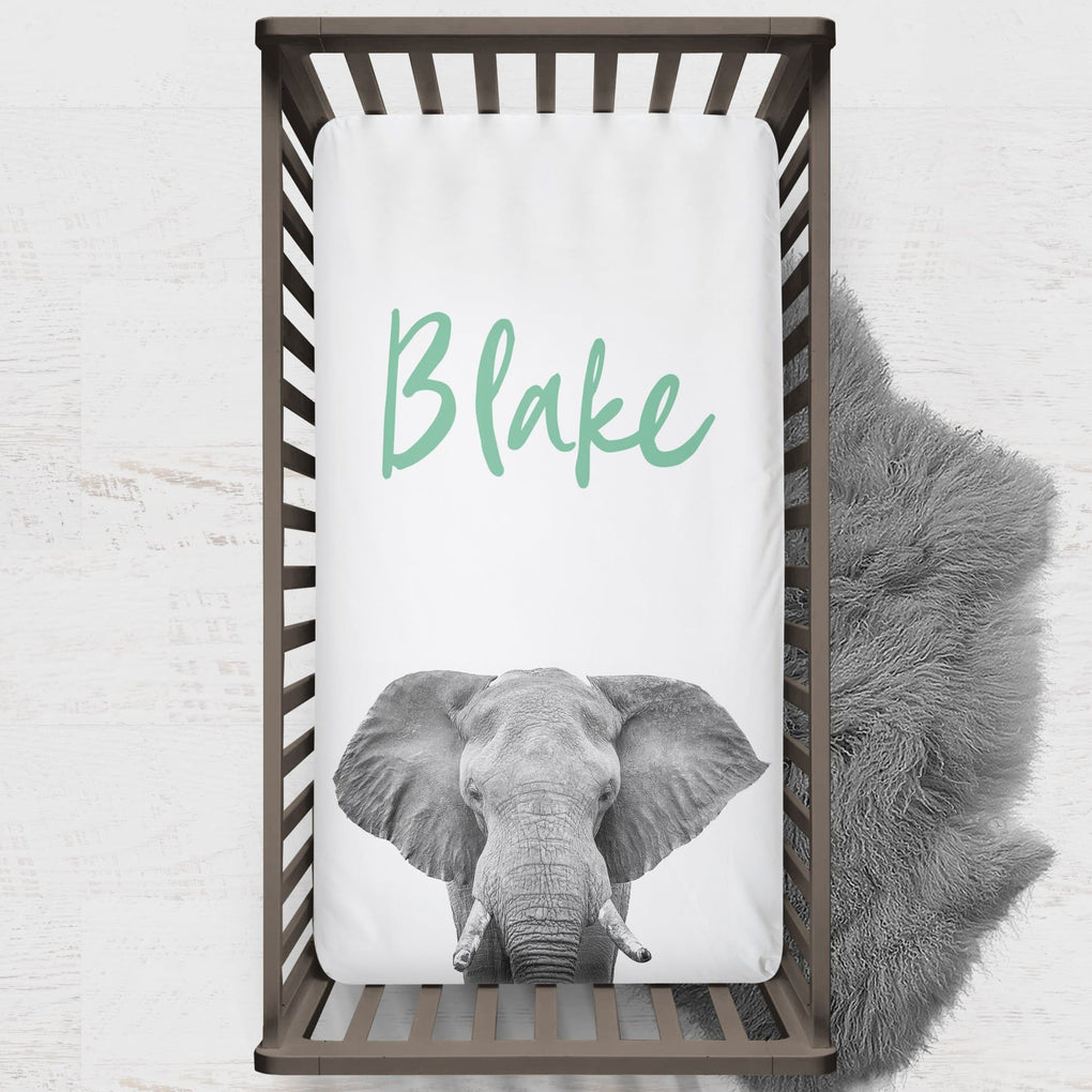 Modern Jungle Personalized Elephant Crib Sheet Crib Sheet Modified Tot