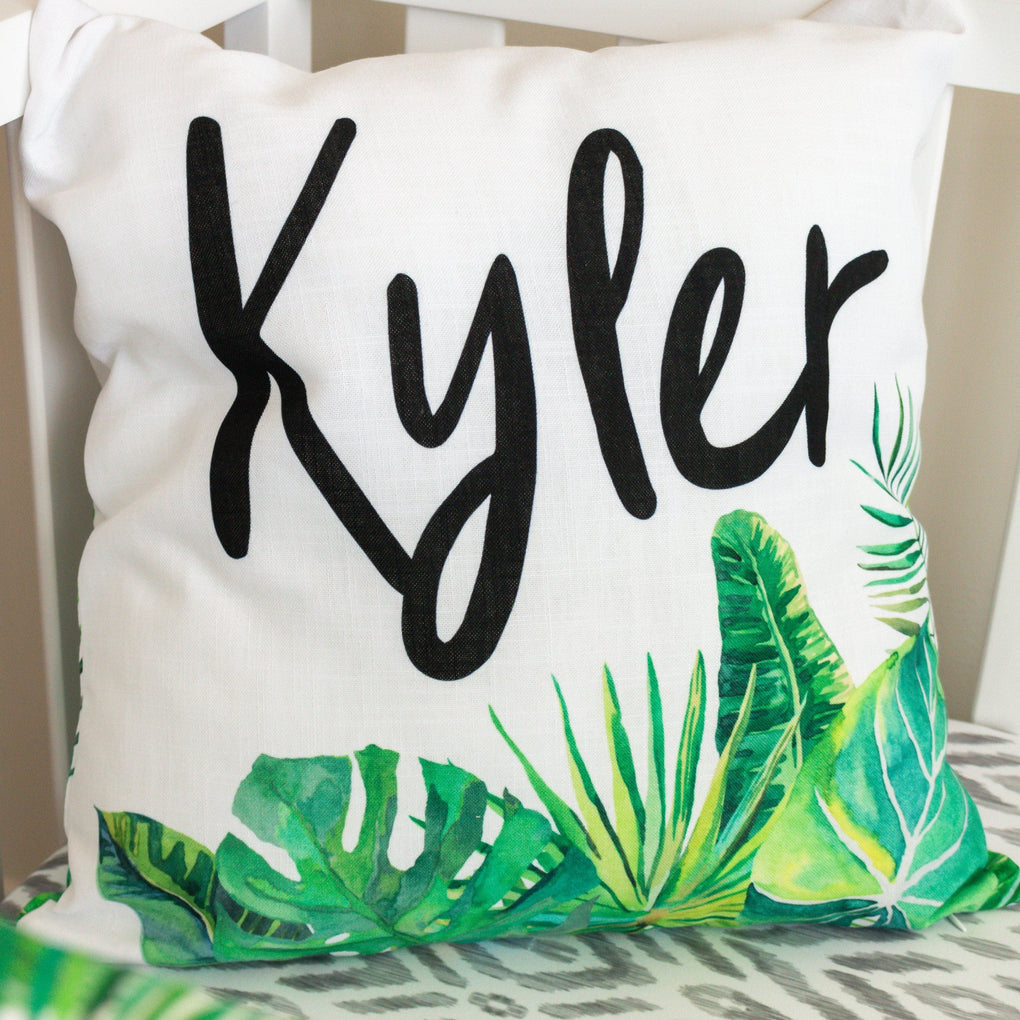 Modern Jungle Personalized Palm Pillow Throw Pillow Modified Tot