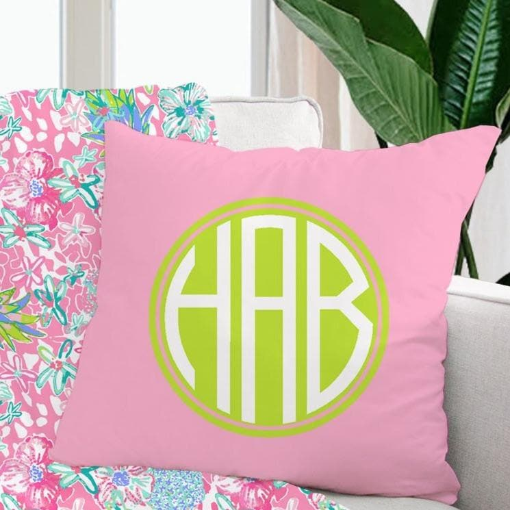 Monogrammed Preppy Pillow Throw Pillow Modified Tot