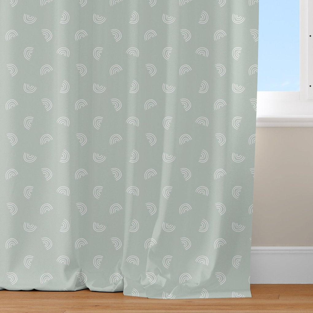 Muted Mint Rainbows Curtain Panel Curtain Panels Modified Tot