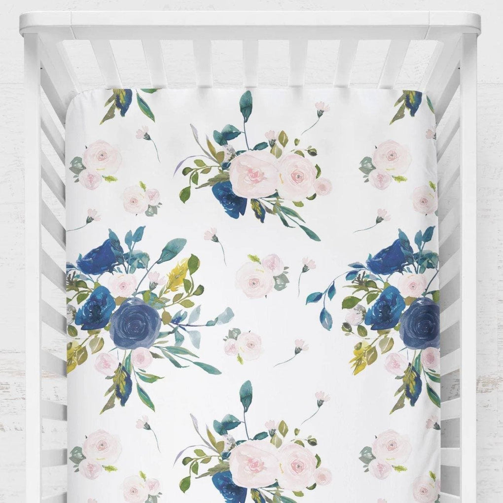 Navy & Blush Floral Crib Sheet Crib Sheet Modified Tot