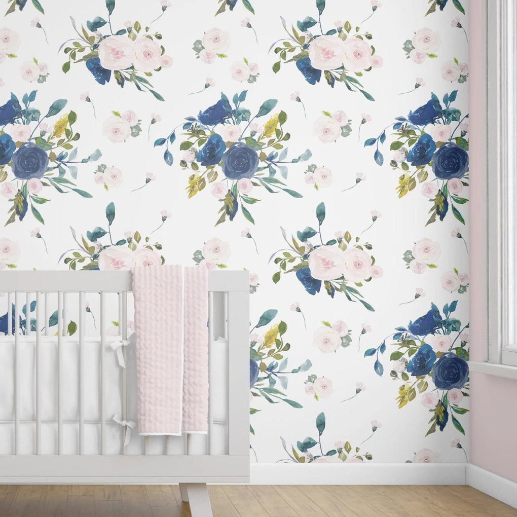 Navy & Blush Floral Removable Wallpaper Wallpaper Modified Tot