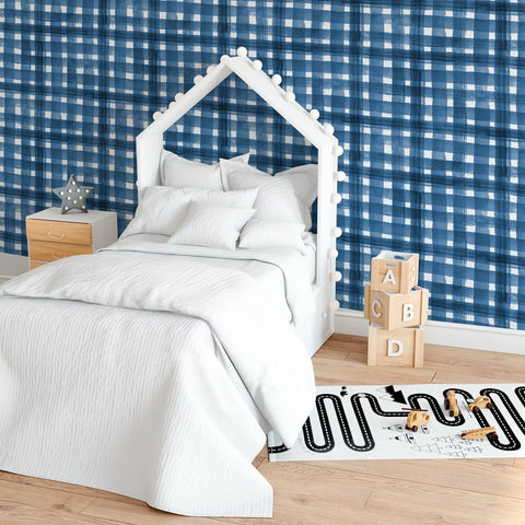 Navy Plaid Removable Wallpaper Wallpaper Modified Tot