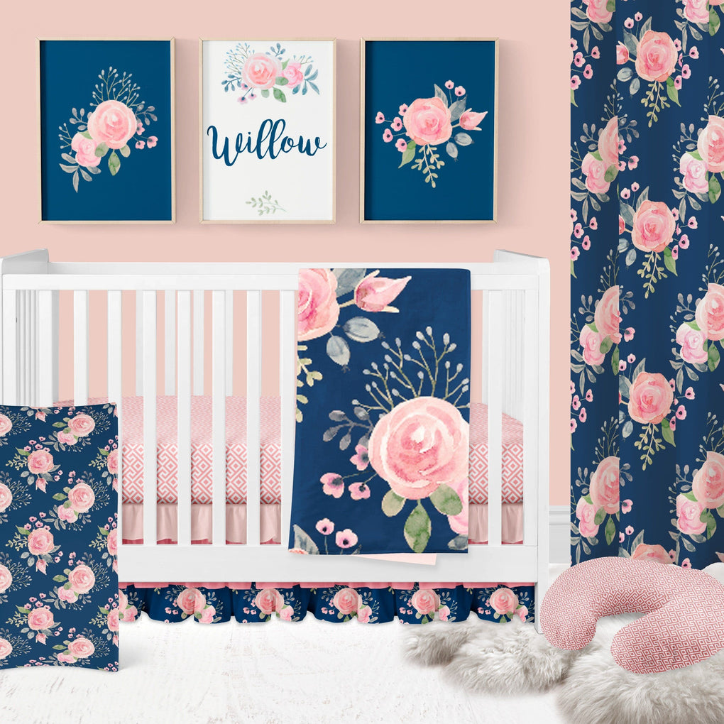 Navy Wildflowers Removable Wallpaper Wallpaper Modified Tot